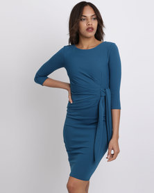 City Goddess London Pleated Fitted Midi Dress With Tie Detail Teal