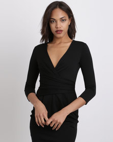 City Goddess London Fitted Pleated Midi Dress Black