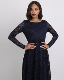 City Goddess London Day To Evening Lace Dress Navy