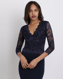 City Goddess London V Neck Lace Overlay Midi Dress Navy