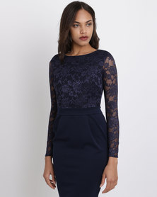 City Goddess London Long Sleeved Lace Midi Dress Navy