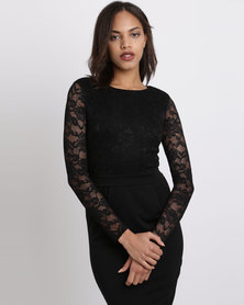 City Goddess London Long Sleeved Lace Midi Dress Black