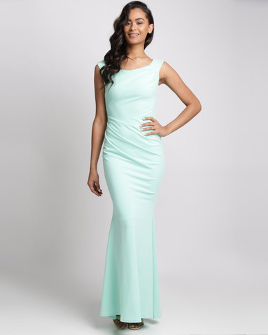 City Goddess London Fishtail Maxi Dress With Pleating Detail Mint