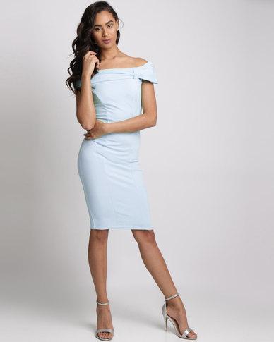 City Goddess London Bardot Midi Dress With Bow Detail Powder Blue