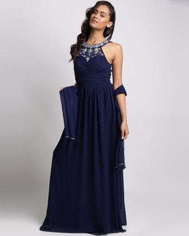 City Goddess London Embellished Chiffon Maxi Dress with Scarf Navy