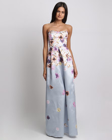 City Goddess London Cascading Floral Print Maxi Dress Grey