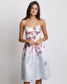 City Goddess London Cascading Floral Print Midi Dress Grey