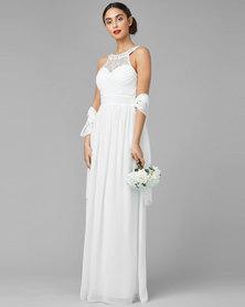 City Goddess London Embellished Chiffon Maxi Wedding Dress with Scarf Cream