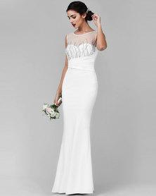 City Goddess London Embellished Maxi Wedding Dress White