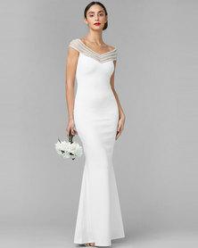 City Goddess London Embellished Neckline Maxi Wedding Dress White
