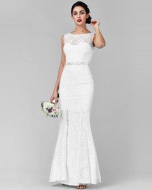 City Goddess London Open Back Maxi Wedding Dress With Embellished Belt White