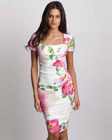 City Goddess London Square Neckline Midi Dress Print Multi