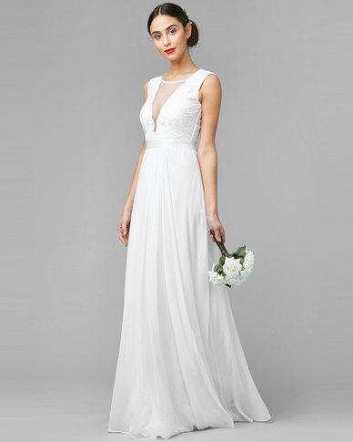 City Goddess London V Neckline Chiffon Maxi Wedding Dress White