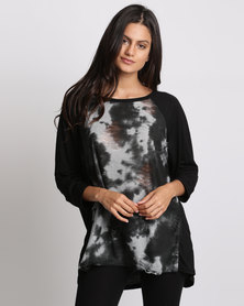 City Goddess London Tie Dye Print Shredded Jersey Top Grey