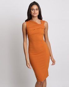 City Goddess London Sleeveless Fitted Midi Dress With Pleated Neckline Rust