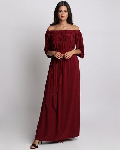 City Goddess London Off Shoulder Three Quarter Sleeve Maxi Dress With Tie Wine