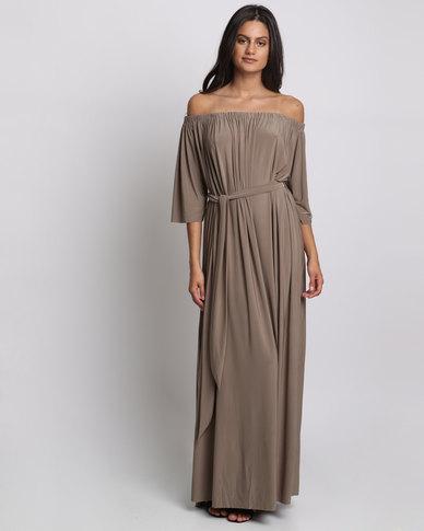 City Goddess London Off Shoulder Three Quarter Sleeve Maxi Dress With Tie Mocha