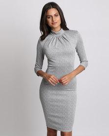 City Goddess London High Neck Midi Dress Silver