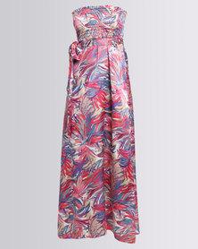 City Goddess London Strapless Print Maxi Dress Multi