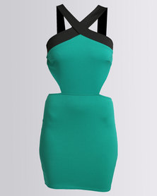 City Goddess London Cross Neckline Mini Dress Jade