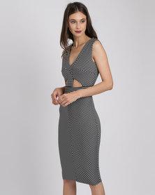 City Goddess London Geometric Cut Outs Midi Dress Black Stripe
