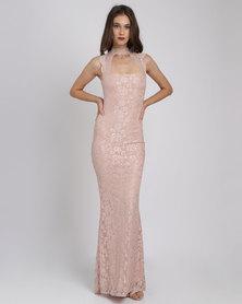 City Goddess London High Neck Cut Out Lace Maxi Dress Nude