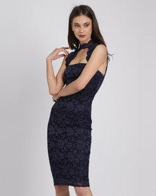 City Goddess London High Neck Cut Out Lace Midi Dress Navy