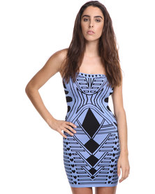 City Goddess London Strapless Print Bodycon Dress Blue