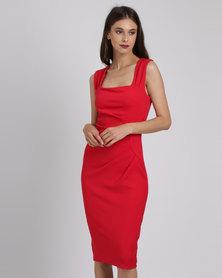 City Goddess London Square Neckline Midi Dress Red