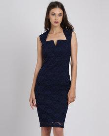 City Goddess London V Neck Line Detail Lace Dress Navy