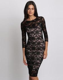City Goddess London Three Quarter Sleeved Lace Midi Dress Black