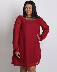 City Goddess London Plus Size Embellished Shift Dress With Long Sleeves Wine