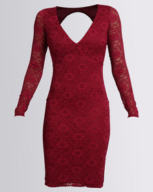 City Goddess London Open Back Lace Midi Dress Wine