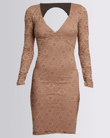 City Goddess London Open Back Lace Midi Dress Mocha