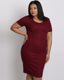 City Goddess London Plus Size Midi Dress With Zip Detail Wine
