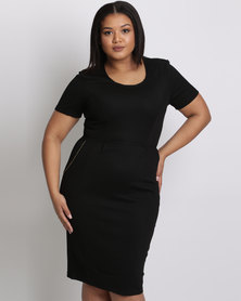 City Goddess London Plus Size Midi Dress With Zip Detail Black