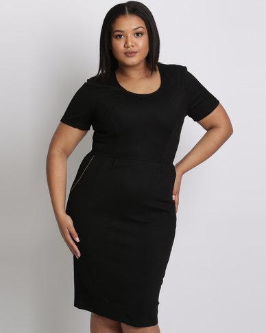 City Goddess London Plus Size Midi Dress With Zip Detail Black