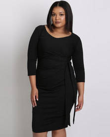 City Goddess London Plus Size Pleated Midi Dress With Tie Detail Black