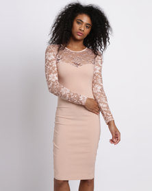 City Goddess London Fitted Lace Midi Dress with Long Sleeves Nude