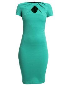 City Goddess London Keyhole Midi Dress Jade
