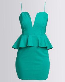 City Goddess London Plunge Peplum Mini Dress Green