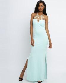 City Goddess London Cage Neck Maxi Dress Mint