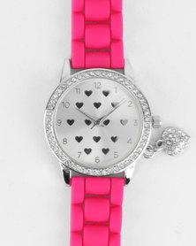 Civvio Girls Heart Charm Silicone Watch Pink