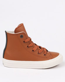 Converse Chuck Taylor Leather Hi Top Sneaker Brown