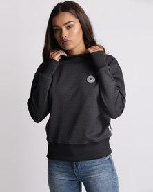 Converse Shield Lycra Mock Neck Crew Sweatshirt Black