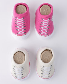 Converse Chuck Booties 2 Pack Gift Set White/ Pink