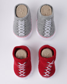 Converse Chuck Booties 2 Pack Gift Set Red/ Grey