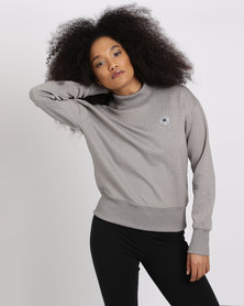 Converse Shield Lycra Mock Neck Crew Sweatshirt Grey