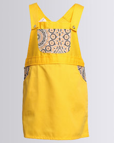 Cotyledons Dungaree Dress Yellow