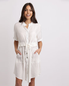 Crave Short Sleeve Tunic With Expandable Waist White